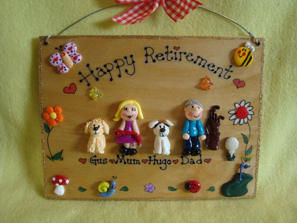 4 CHARACTER LARGE FAMILY SIGN 7 x 5 inches  RETIREMENT PLAQUE PEOPLE PETS ANY PHRASING UNIQUE GIFT